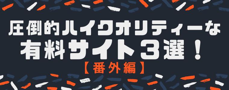 【番外編】圧倒的ハイクオリティーの素材なら有料サイト