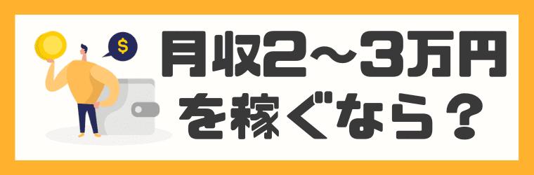 【月収2~3万円】ガッツリ稼ぐならコレ!
