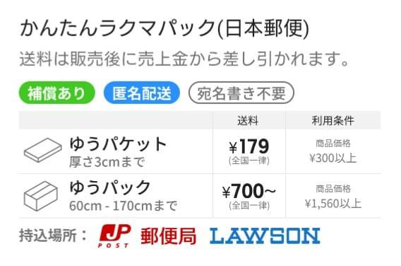 【日本郵政】かんたんラクマパック(匿名配送)