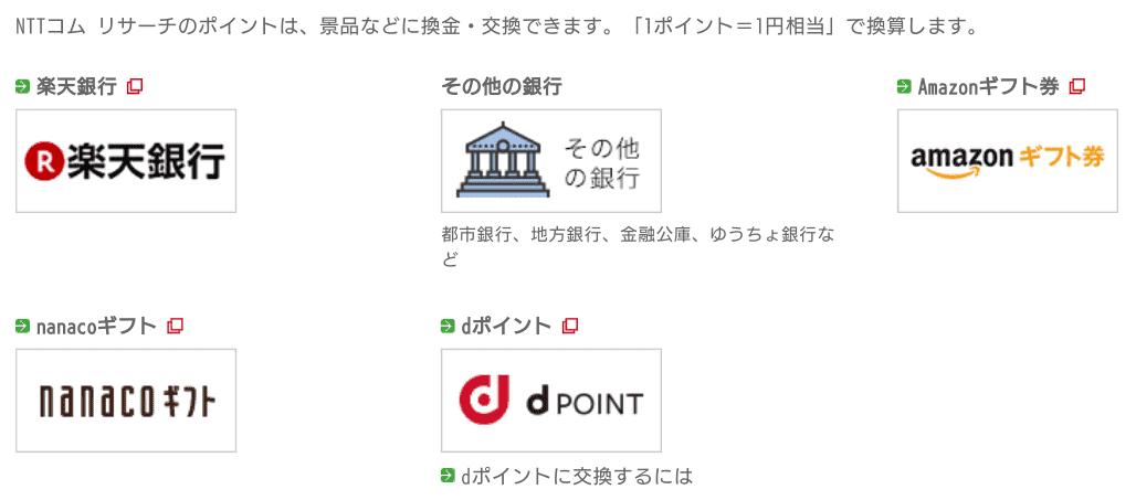 ポイントの交換先、換金先 NTTコムリサーチ